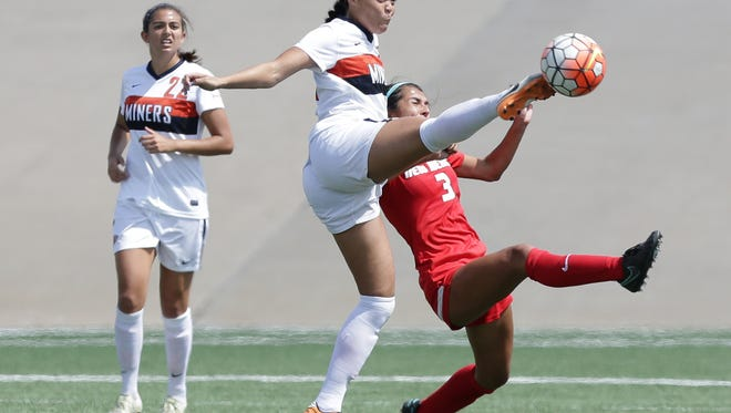 UTEP's Devyn Hunley helps lead UTEP to a 2-1 win over Stephen F. Austin on Sunday at University Field.