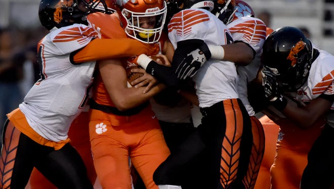Central York RB Will Van Dyke fights his way down the field during the Panthers' game against Northeastern High School on Friday, Sept. 22, 2017. The Panthers of Central York dominated Northeastern during their 36-7 victory to bring Central's record to 2-2 and Northeastern to 3-1.
