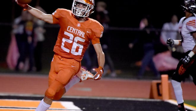 Central York RB Hunter Werner scores a TD during the Panthers' game against Northeastern High School on Friday, Sept. 22, 2017. The Panthers of Central York dominated Northeastern during their 36-7 victory to bring Central's record to 2-2 and Northeastern to 3-1.