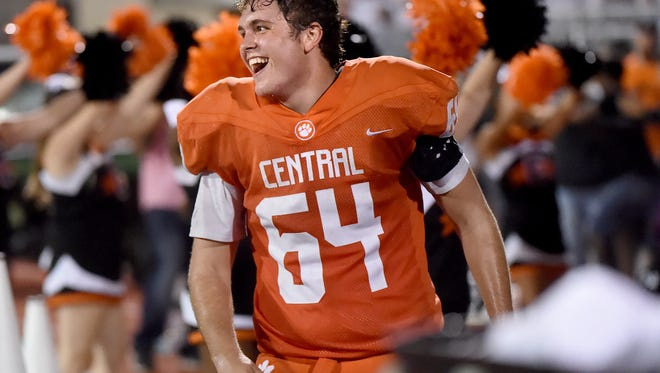Central York lineman Austin Ilgenfritz is all smiles following a touchdown during the Panthers' game against Northeastern High School on Friday, Sept. 22, 2017. The Panthers of Central York dominated Northeastern during their 36-7 victory to bring Central's record to 2-2 and Northeastern to 3-1.