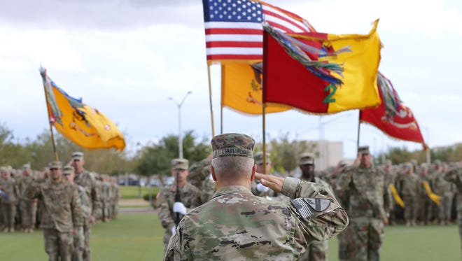 Col. Chuck Lombardo, commander of Fort Bliss' 2nd Brigade, led a casing ceremony on Sept. 26 as the unit gets ready to deploy to Kuwait and elsewhere in the Middle East.