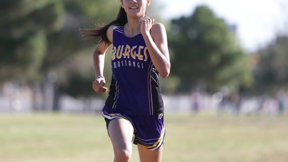 Burges cross-country runner Itzel Alcantar took second in the District 1-5A Cross Country Championships at the Chamizal National Memorial.