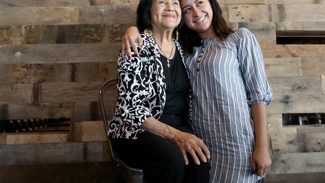 "Diana Ramos poses for a photo with civil rights leader Dolores Huerta on Sunday after viewing a new documentary titled ""Dolores"" at Alamo Drafthouse. Huerta will be at another sold-out screening of the film at 7 p.m. Monday at the theater, 250 E. Montecillo Blvd."
