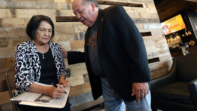 """El Pasoans line up to meet civil rights icon Dolores Huerta at Alamo Drafthouse following the screening of the documentary """"Dolores,"""" which is based on her life."""
