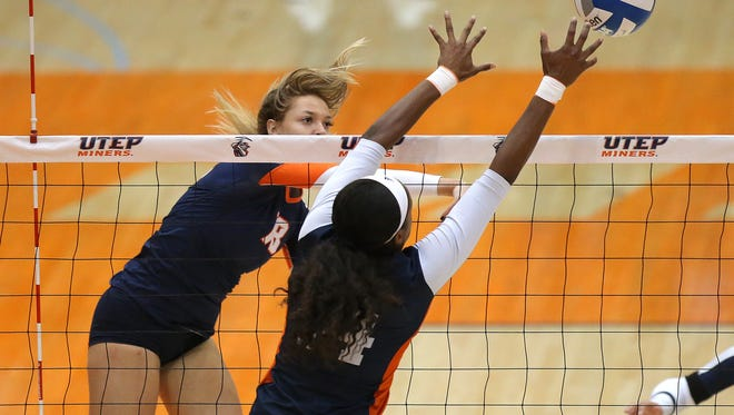 UTEP senior Kylie Baumgartner had nine kills and five blocks for UTEP Sunday in the Miners' 3-1 loss to Southern Miss in Memorial Gym. El Paso Times file photo.
