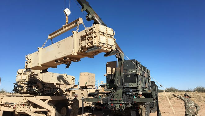 Soldiers from Bulldawg Battery with 5-52 ADA practiced reloading a Patriot launcher, one of many skills they worked on during a monthlong mission rehearsal exercise.