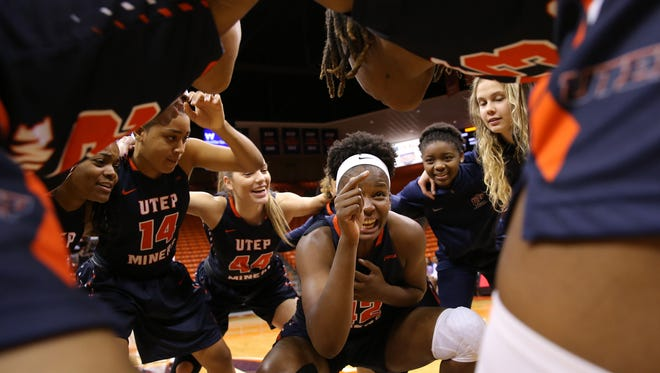 UTEP's Tamara Seda gets the team pumped up before facing CSU Bakersfield Saturday at the Don.