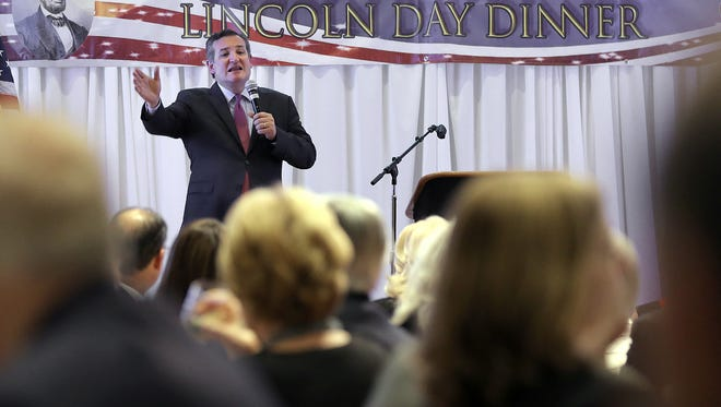 U.S. Sen. Ted Cruz, R-Texas, speaks in February at the El Paso GOP Lincoln Day Dinner at the Fort Bliss Centennial Club.