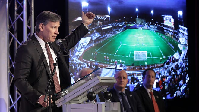MountainStar Sports Group President Alan Ledford announces during a news conference Wednesday at the Philanthropy Theatre of the Plaza Theatre that a United Soccer League team will be coming to El Paso in March 2019. Ledford said fans can expect a high level of soccer from the league.