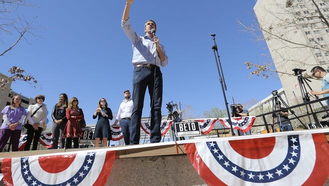 U.S. Rep. Beto O'Rourke poses for a photo at the El Paso County Courthouse before voting Friday. O'Rourke is running to unseat Republican Senator Ted Cruz.