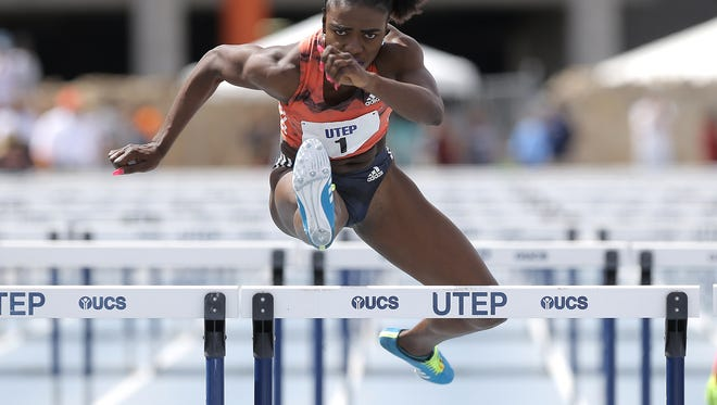 Former UTEP star currently running professionally for Adidas easily wins the women's 100 meter hurdles Saturday at the UTEP Springtime Invitational at Kidd Field.