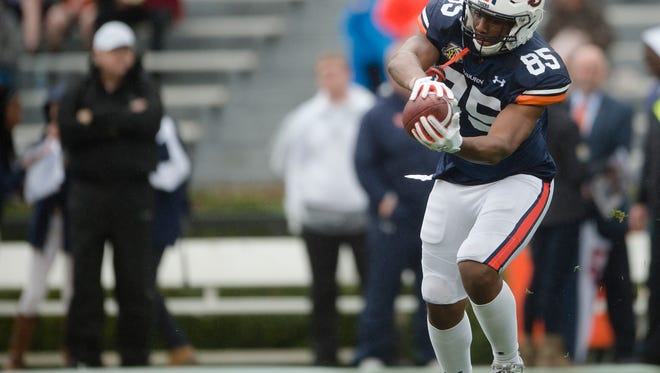 Auburn tight end Jalen Harris (85) catches a pass before the Auburn A-Day game on Saturday, April 7, 2018, in Auburn, Ala.