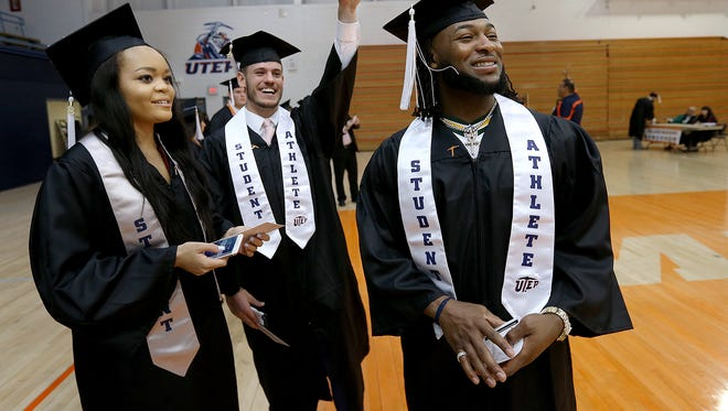 Green Bay running back and UTEP all-time rushing leader Aaron Jones, right, hangs out with UTEP soccer midfielder Devyn Hunley and wide receiver Dylan Kittrell before graduation Saturday.