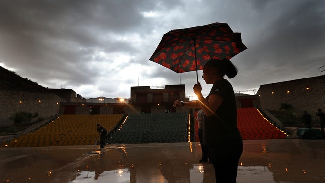 """Rain forced the cancellation of """"Viva! El Paso"""" earlier this summer. El Paso's monsoon season, when the area receives its heaviest rainfalls, lasts through the summer."""