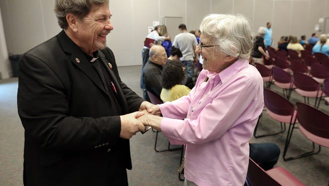 The Rev. Robert Stark of the Vatican's Migrant and Refugees Section joined Catholic bishops from El Paso, Las Cruces and Dallas, as well of members of various faiths. Stark, originally from Albuquerque, was reunited Saturday with Sister Betty Campbell, who co-founded the Tabor House in Juárez. Stark served as the keynote speaker at the Teach In: Faith, Migration and the Future of Our Border Communities event Saturday morning at Region 19. The Vatican representative delivered a video message on migration from Pope Francis, who oversees his department.