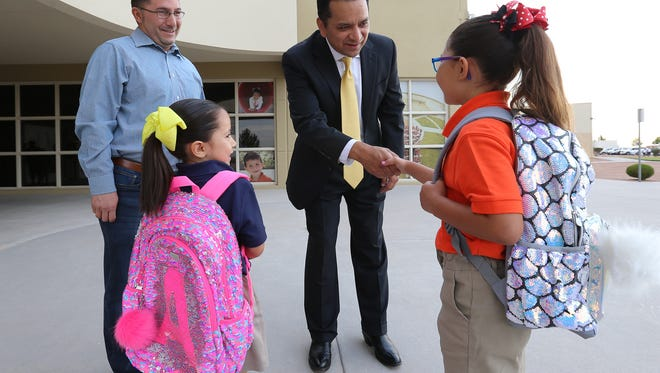 SISD Superintendent Jose Espinoza welcomes students back to school July 29 at Dr. Sue A. Shook Elementary.