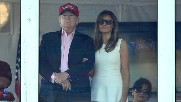 President Donald Trump and First Lady Melania Trump watch the final round of the 72nd U.S. Women's Open from the skybox at Trump National Golf Club in Bedminster, NJ on Sunday, July 16, 2017.