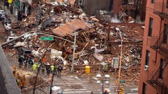 Debris in the aftermath of a building collapse following