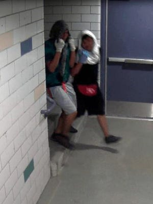 An image from security footage shows two Native American males possibly in their late teens who broke into the A.C. Warner Natatorium at 542 County Road 6100 during the night of July 25-26.