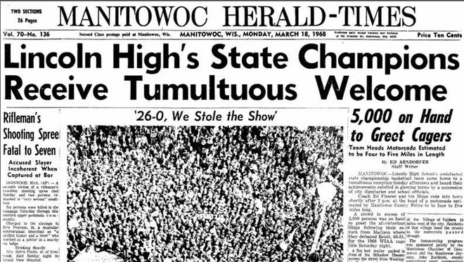 The cover of the Manitowoc Herald-Times on March 18, 1968, covering the welcome home celebration for Lincoln High School's WIAA state basketball champions.