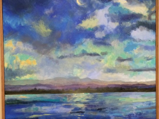 First panel of paintings by Burlington artist Katherine Montstream hang on the walls of the Senator Sally Fox Conference Center at the new State Office Complex in Waterbury. The paintings show scenes of Shelburne Bay, which was one of Fox's favorite places.