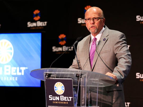 Sun Belt commissioner Karl Benson speaks last Monday