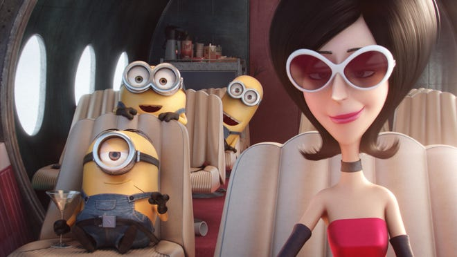 """Stuart, Bob, Kevin and Scarlet Overkill, voiced by Sandra Bullock, appear in a scene from """"Minions."""""""