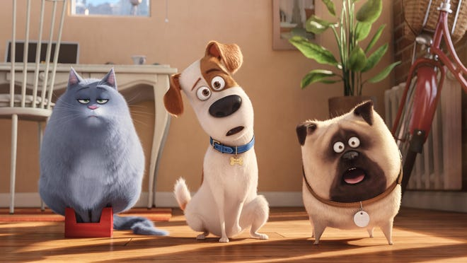 """In this image released by Universal Pictures, Chloe, voiced by Lake Bell, from left, Max, voiced by Louis C.K., and Mel, voiced by Bobby Moynihan, appear in a scene from, """"The Secret Lives of Pets."""" (Illumination Entertainment and Universal Pictures via AP)"""