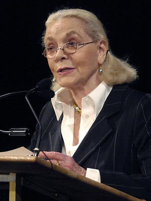 Actress Lauren Bacall speaks as part of the  Smart Talk Women's Lecture Series at the DuPont Theatre, on Wednesday, June 8, 2005, in Wilmington, Del.