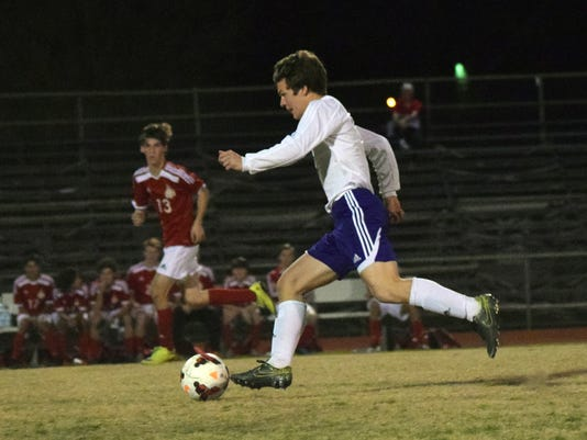 Alexandria Senior High's Zachary Ponthie (1) scores the first goal agains Tioga in a playoff game held Thursday.
