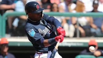 This swing by Braves outfielder Ronald Acuna produced a two-run home run during a March 15 spring training game against the Detroit Tigers.