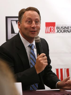 Westchester County Executive Rob Astorino speaks about the government's effect on business during a panel discussion Sept. 27, 2016 at Fordham University in West Harrison.