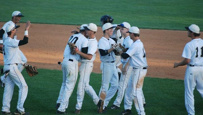 Hayesville baseball players celebrate after a win last week in the NCHSAA 1-A playoffs.