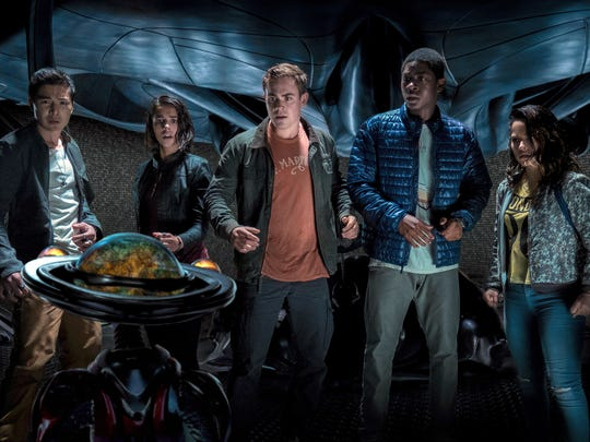 "Ludi Lin, Naomi Scott, Dacre Montgomery, RJ Cyler and Becky G appear in ""Power Rangers."""