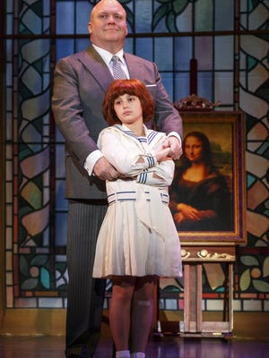 "Photo by Joan Marcus Gilgamesh Taggett plays Oliver Warbucks and Issie Swickle plays the title role in the musical ""Annie,"" which will be performed Wednesday at the Abilene Civic Center."