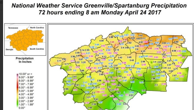 The National Weather Service map for rainfall.