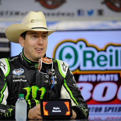NASCAR driver Kyle Busch is interviewed after winning
