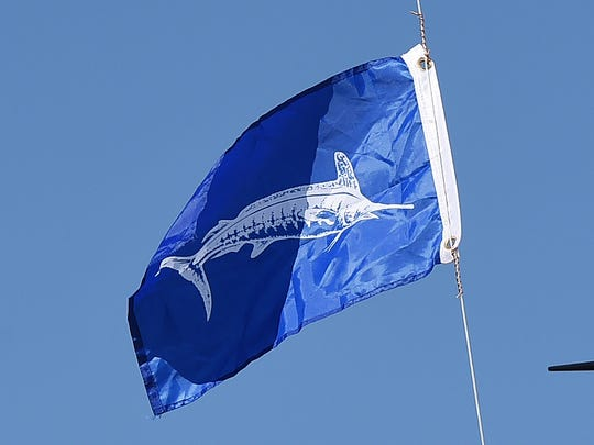 The White Marlin Flag flies as Day 3 of the 44th Annual White Marlin Tournament in Ocean City brought in several White Marlin for the Leader Board as 2 days of fishing remain.Special to the Daily Times / Chuck Snyder