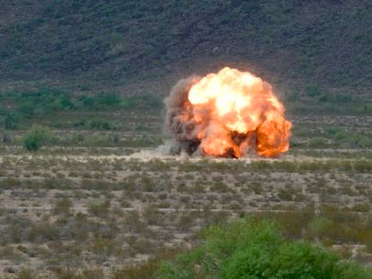 Bombing targets with F-16s and F-35s may be exciting work for jet fighter pilots, but someone has to clean up after them. It is a dangerous job Luke Air Force Base airmen face on the Barry M. Goldwater Range, collecting spent and unexploded dummy bombs.