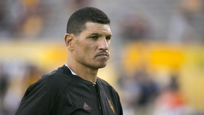 ASU wide receiver's coach Jay Norvell looks on before the college football game against Cal at Sun Devil Stadium in Tempe on Saturday, September 24, 2016.