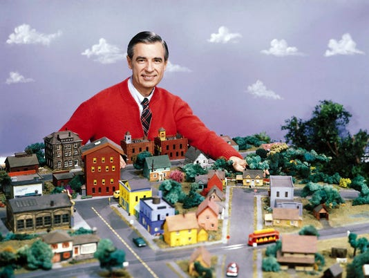 Mister Rogers with mini model neighborhood_color