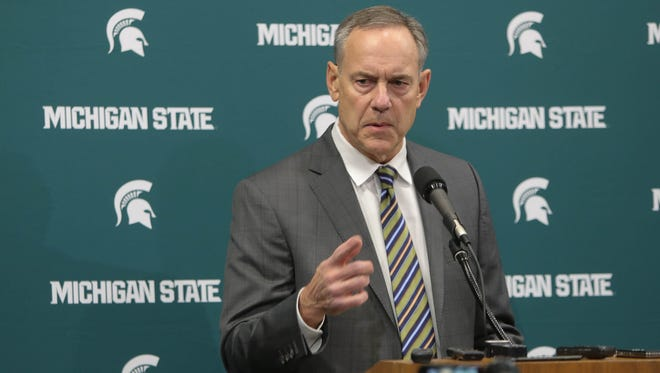 Michigan State football coach Mark Dantonio makes a statement concerning the ESPN story on Friday, Jan. 26, 2018, at Breslin Center.