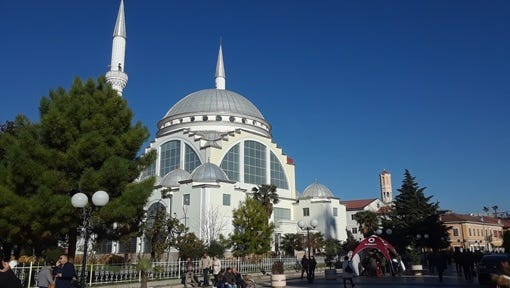 """The Ebu Beker Mosque in Shkoder, Albania. Shkoder was known as the """"prison city"""" when the Communists held power."""