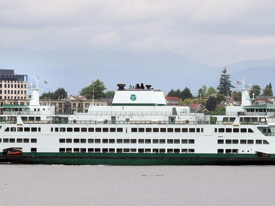 The Washington State Ferry Chimacum pulls into Bremerton on Wednesday.