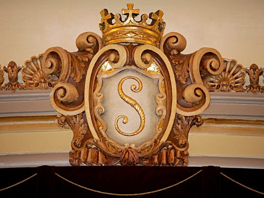 The Saenger Theatre crest was restored in the renovation.
