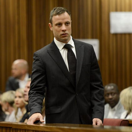 South African athlete Oscar Pistorius arrives at the