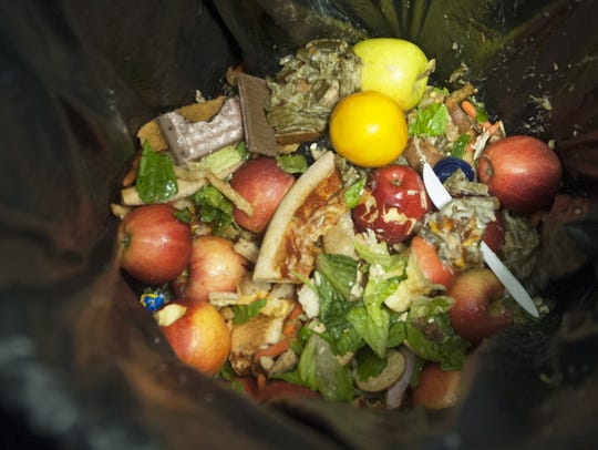 Food waste is collected at a refuse station in the