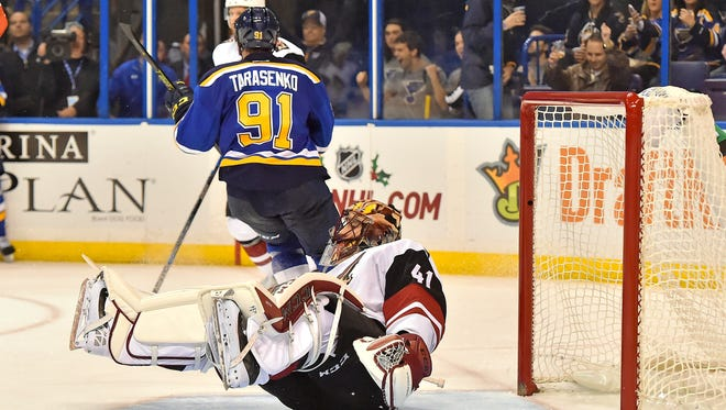 Dec 8, 2015: Arizona Coyotes goalie Mike Smith (41) reacts after allowing a goal to St. Louis Blues right wing Vladimir Tarasenko (91) during the second period at Scottrade Center.