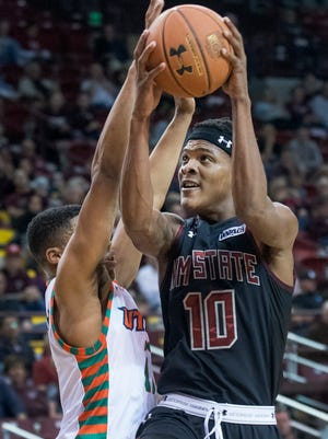 Jemerrio Jones and New Mexico State start the Western Athletic Conference Tournament Thursday against Chicago State in Las Vegas, Nevada.