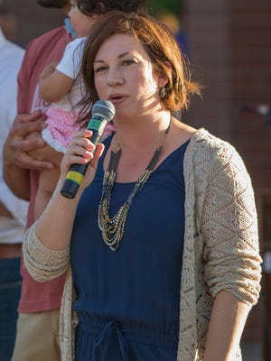 New Reno City Manager Sabra Smith Newby speaks to the crowd during Artown's Opening Night in Reno on Saturday, July 1, 2017.